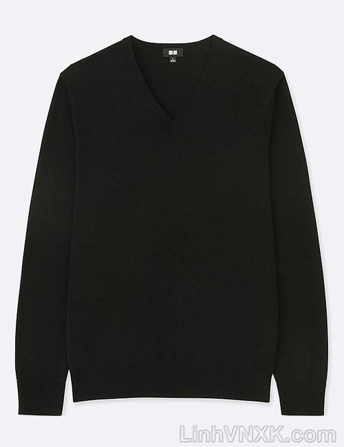 Áo len nam cổ tim Uniqlo chất liệu merino màu đen
