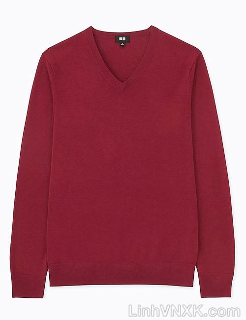 Áo len nam cổ tim Uniqlo chất liệu merino màu đỏ