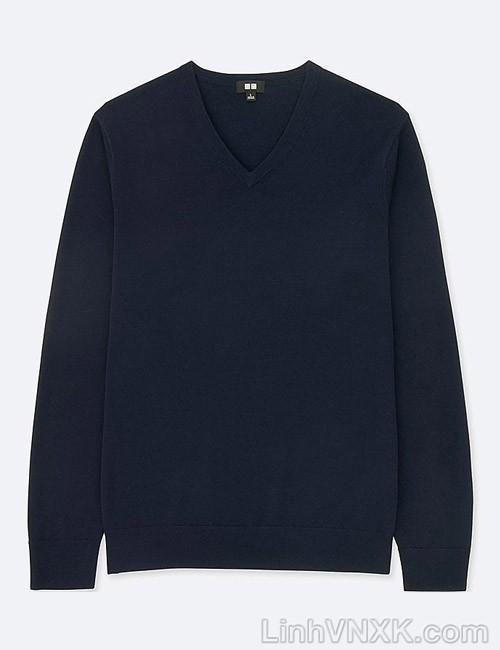 Áo len nam cổ tim Uniqlo chất liệu merino màu xanh navy