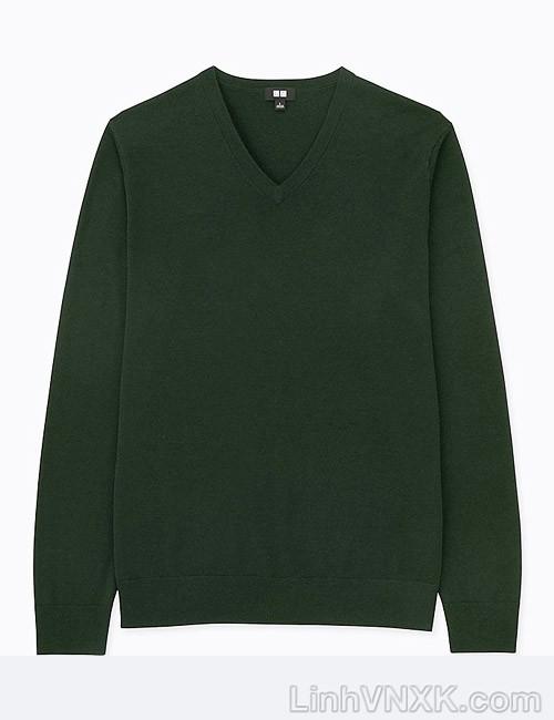 Áo len nam cổ tim Uniqlo chất liệu merino màu xanh rêu