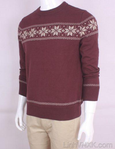 Áo len nam xuất khẩu họa tiết màu đỏ mận