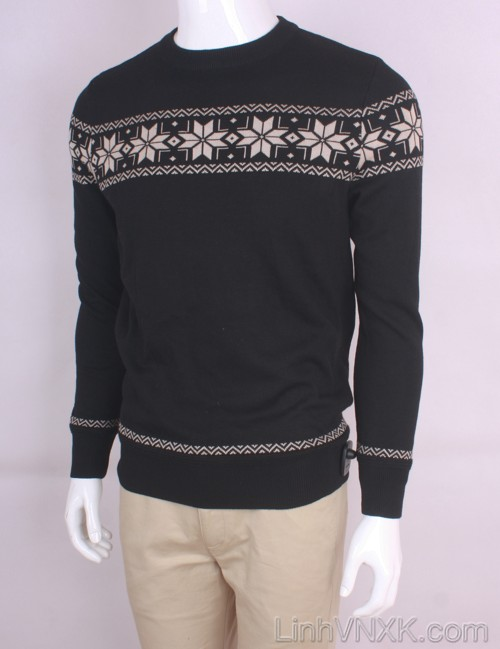 Áo len nam xuất khẩu họa tiết màu ghi đậm
