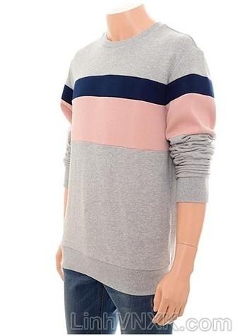 áo nỉ nam xuất khẩu màu ghi kẻ hồng