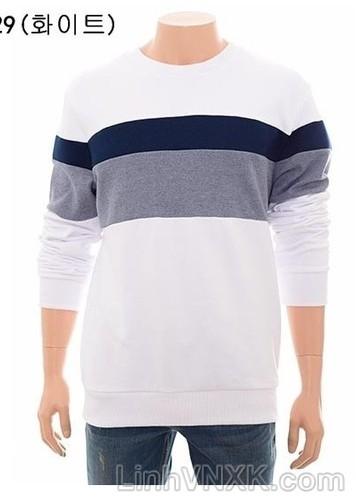 áo nỉ nam xuất khẩu màu trắng kẻ ghi