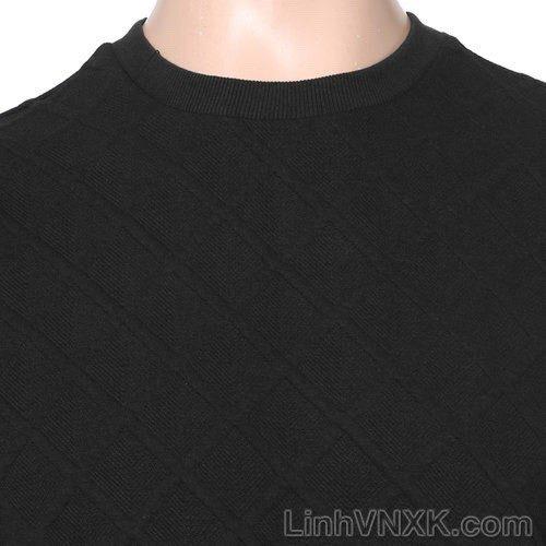 Áo nỉ nam xuất Hàn trần trám vân nổi màu đen