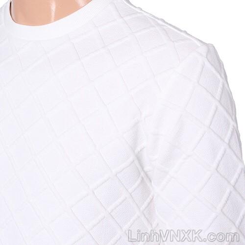 Áo nỉ nam xuất Hàn trần trám vân nổi màu trắng