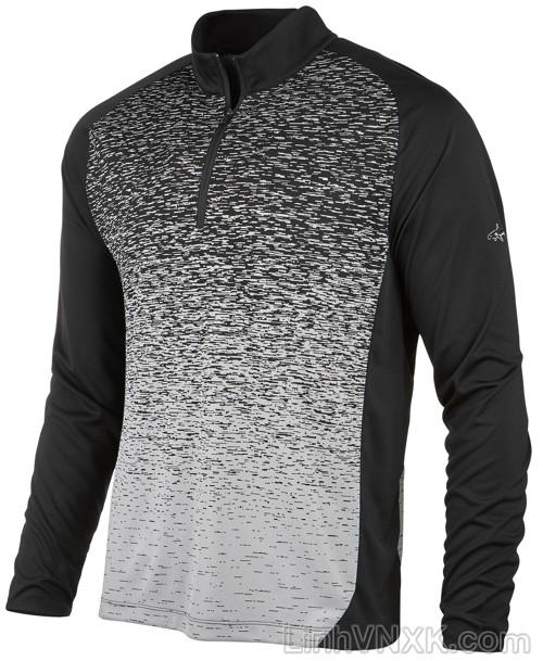 Áo thun nam dài tay thể thao golf nửa khóa màu đen