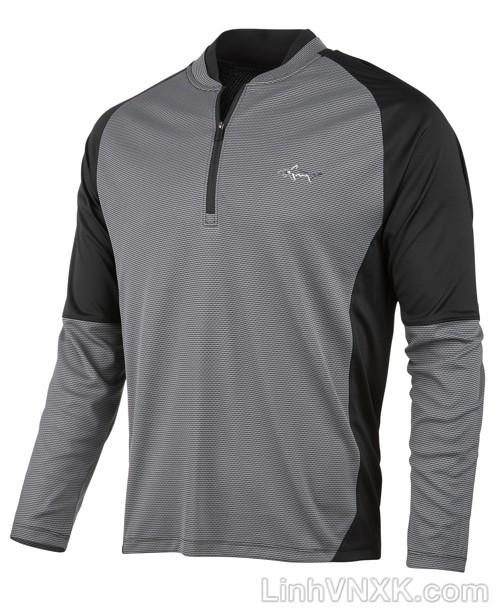 Áo thun nam dài tay thể thao golf nửa khóa màu ghi
