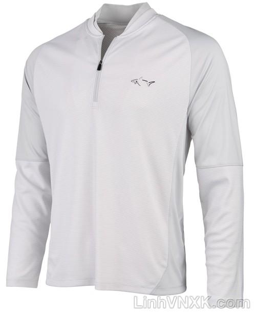 Áo thun nam dài tay thể thao golf nửa khóa màu ghi sáng