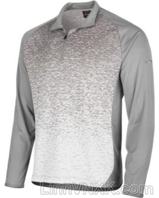 Áo thun nam dài tay thể thao golf nửa khóa màu ghi sáng hoạ tiết