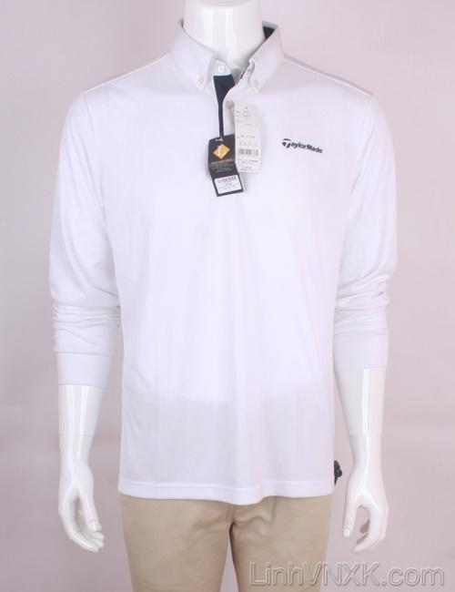 Áo polo nam dài tay golf Tayor Made màu trắng