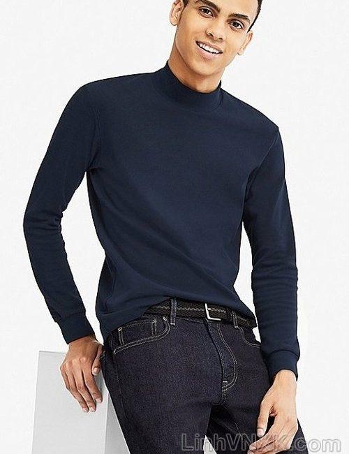 Áo thun nam cổ 3cm uniqlo xuất khẩu màu xanh navy