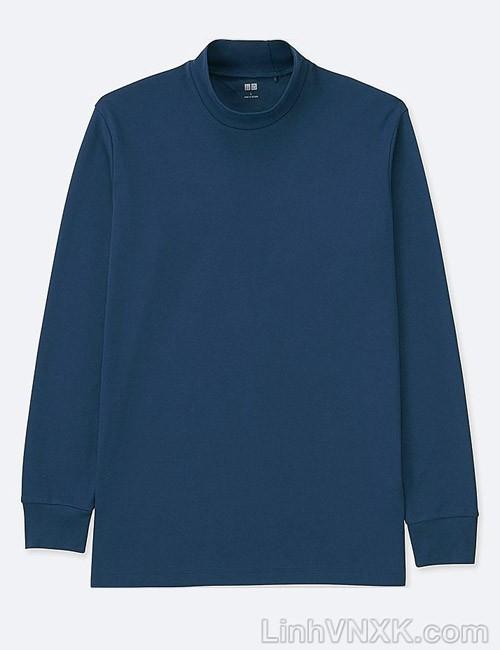 Áo thun nam cổ 3cm uniqlo xuất khẩu màu xanh navy sáng