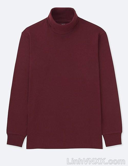 Áo thun nam cao cổ uniqlo xuất khẩu xịn màu đỏ mận