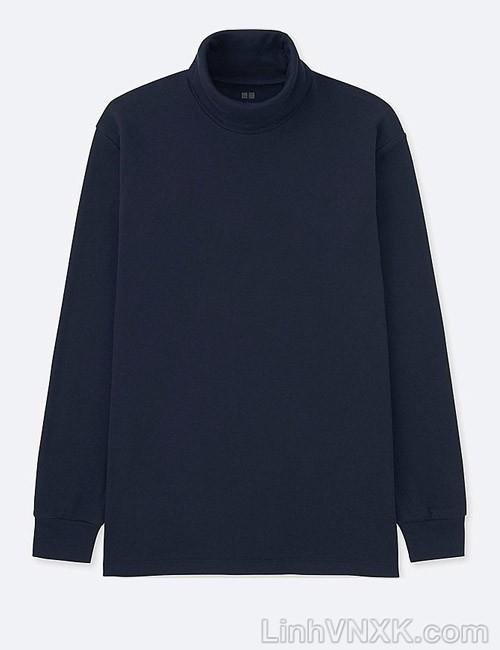 Áo thun nam cao cổ uniqlo xuất khẩu xịn màu xanh navy