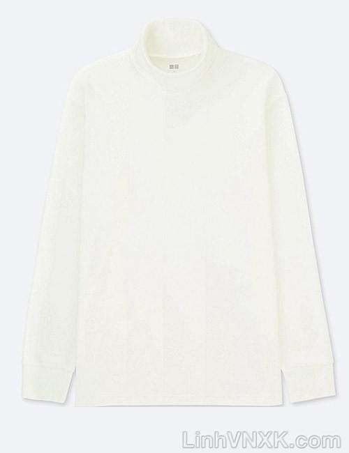 Áo thun nam cao cổ uniqlo xuất khẩu xịn màu trắng