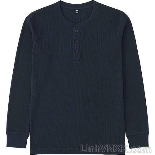 Áo thun nam dài tay cổ trụ Uniqlo xuất khẩu màu đen