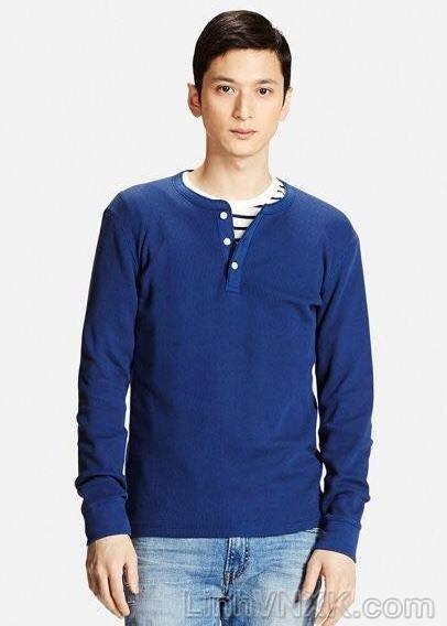 Áo thun nam dài tay cổ trụ Uniqlo màu xanh blue xuất xịn