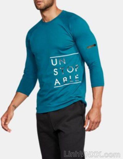 Áo thun nam tay lỡ Under armour màu xanh cổ vịt