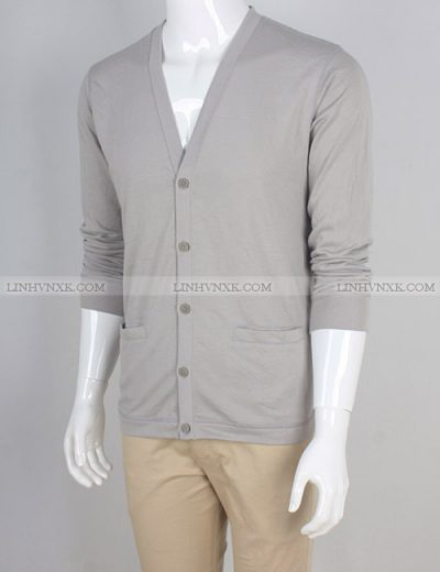 áo khoác nam cardigan cotton uniqlo màu ghi sáng