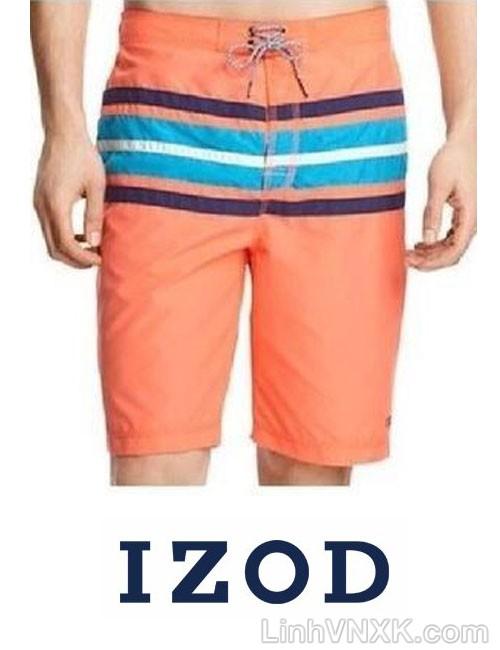 Quần bơi nam xuất khẩu Izod màu cam kẻ ngang