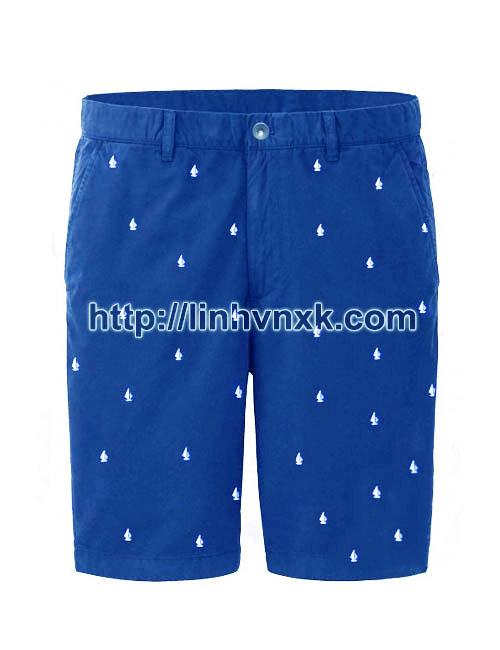 Quần sooc nam xuất khẩu uniqlo họa tiết màu xanh blue