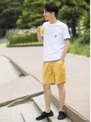 Quần sooc nam xuất khẩu uniqlo cạp chun màu vàng