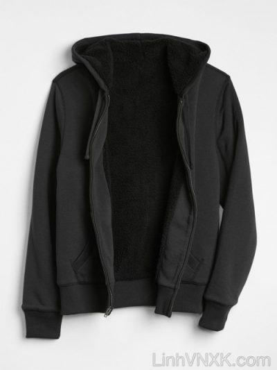 Áo khoác nỉ lót lông Gap màu đen