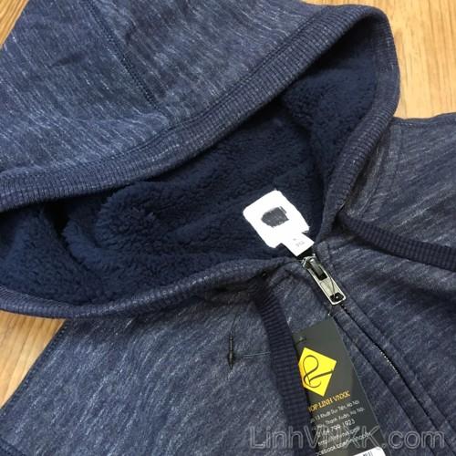 Áo khoác nỉ lót lông Gap màu xanh navy