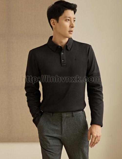 Áo polo nam dài tay lót nỉ xuất Hàn màu đen