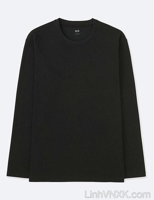 Áo thun nam dài tay Uniqlo chính hãng màu đen