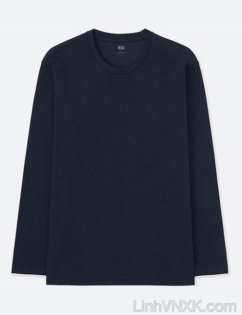 Áo thun nam dài tay Uniqlo chính hãng màu xanh navy