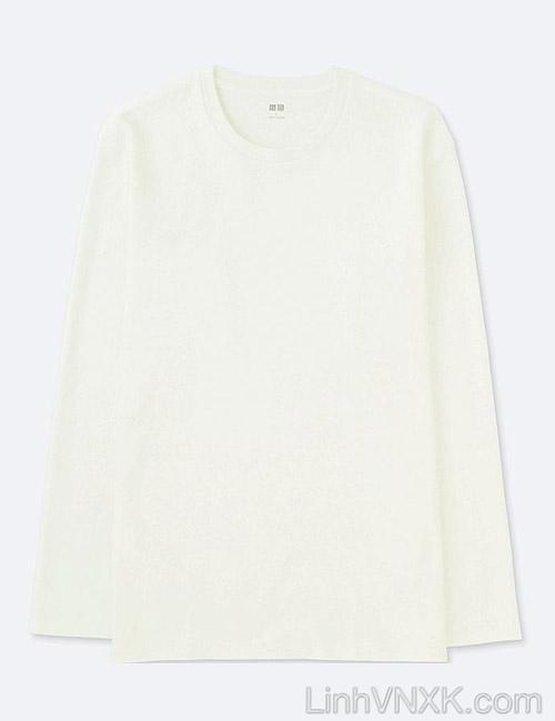 Áo thun nam dài tay Uniqlo chính hãng màu trắng
