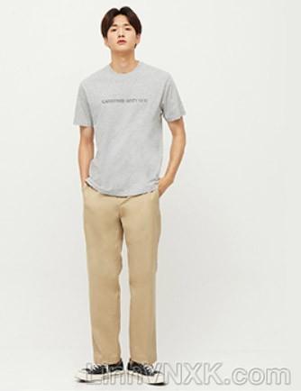 Quần kaki nam xuất khẩu Giordano có đai màu kaki