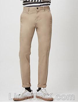 Quần kaki nam xuất khẩu Giordano túi nhỏ màu be sáng