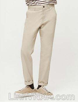 Quần kaki nam xuất khẩu Giordano túi nhỏ màu ghi trắng