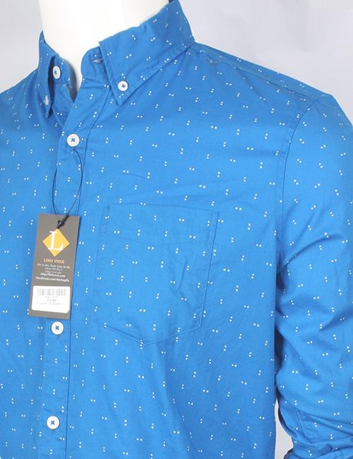 Áo sơ mi nam xuất khẩu American Eagle xanh blue họa tiết