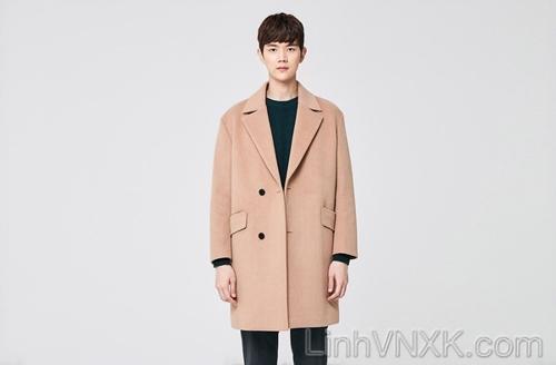 Áo khoác dạ nam Hàn quốc xuất khẩu màu be