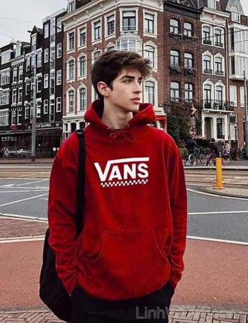 Áo hoodie nỉ nam xuất khẩu vans màu đỏ