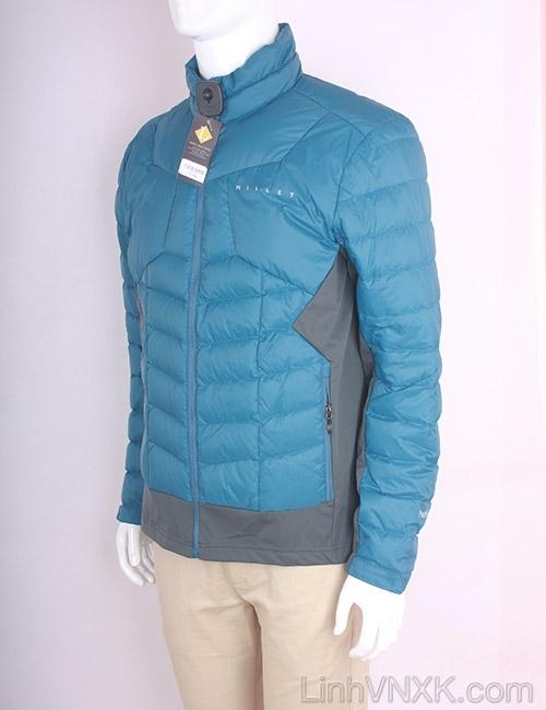 Áo khoác nam lông vũ nam xuất khẩu millet màu xanh cổ vịt- ghi đậm