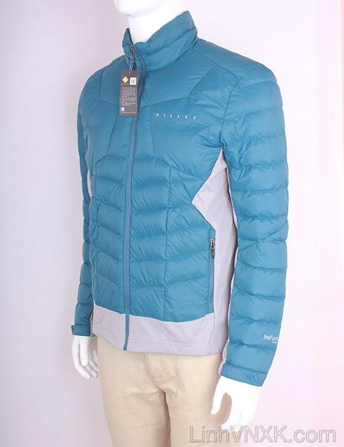 Áo khoác nam lông vũ nam xuất khẩu millet màu xanh cổ vịt- ghi sáng