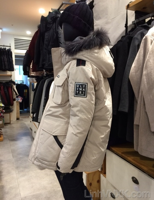 Áo khoác parka lông vũ nam xuất khẩu NII màu be