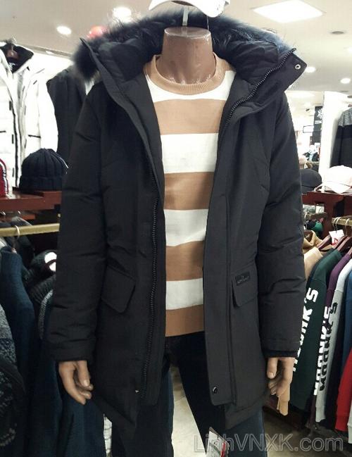 Áo khoác parka lông vũ dáng dài nam xuất khẩu NII màu đen