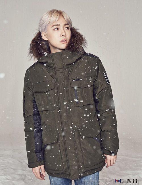 Áo khoác parka lông vũ nam xuất khẩu NII màu rêu