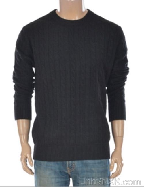 Áo len nam vặn thừng xuất khẩu Polham Hàn quốc màu đen