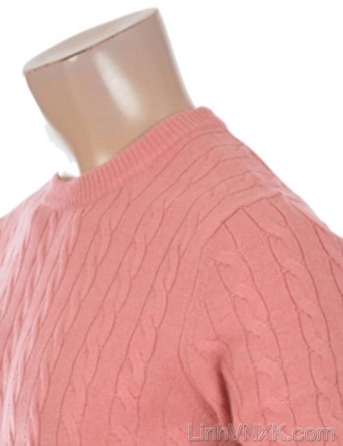Áo len nam vặn thừng xuất khẩu Polham Hàn quốc màu hồng