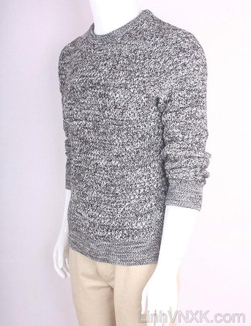 Áo len nam dày xuất Hàn màu đen trắng