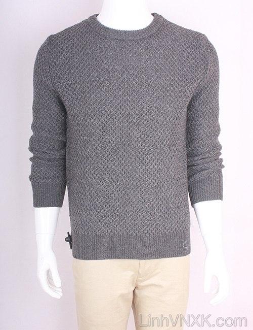 Áo len nam dày xuất Hàn màu ghi đậm