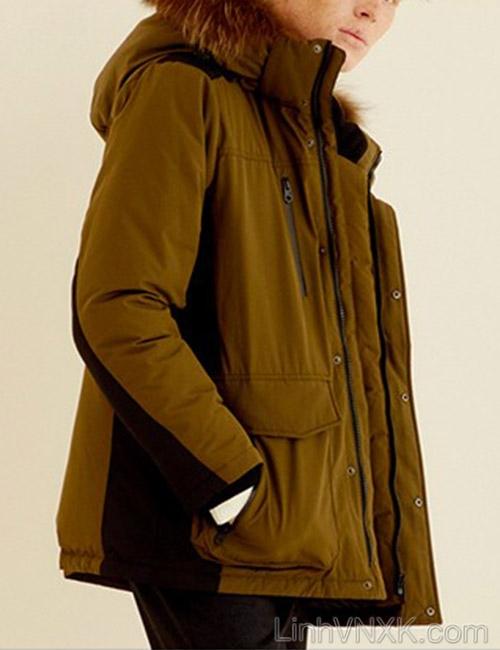 Áo khoác parka lông vũ dáng ngắn NII màu rêu