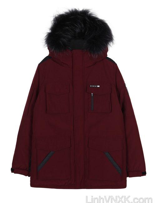 Áo khoác parka lông vũ nam xuất khẩu NII màu đỏ mận